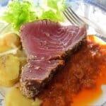 Риба тон в сос от мандарини