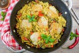 Хрупкаво пиле с ориз и зеленчуци. Насладете се !