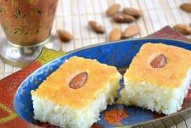 Басбуса- крехък и напоен със сироп арабски десерт! Много лесен за приготвяне в домашни условия!
